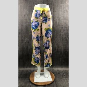 Aerie Nude Neon Green Floral Jogger Pants Medium